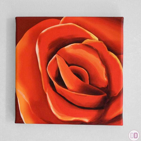rosa rossa quadro appeso